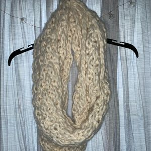 Cream Infinity Knitted Scarf